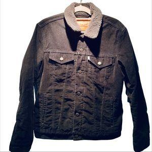 Levi's corduroy Sherpa trucker jacket black gray M